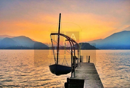 marina - sunset view on lake como from private villa for sale